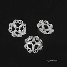 6 Sterling Silver Filigree Heart Bead Cap ap. 7.5mm #97873