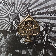Bronze Kennzeichenschraube Zierschraube  Kolben Skull Spade Pik Kutte Motorrad