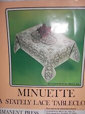 "NEW 54""x72"" Vintage White Lace Minuette Tablecloth Soil Release Finish"