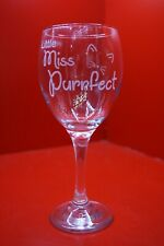 Laser Engraved Wine Glass Little Miss Purrfect Cats Cat Lover Whiskers Ears