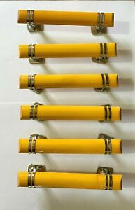 SIX ART DECO / 1950'S RETRO LARGE YELLOW PLASTIC & CHROME DOOR HANDLES