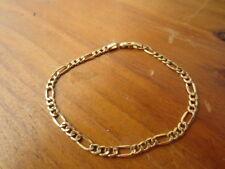 14k 585 Italy Gold Figaro Link Bracelet Jewelry 8 inch 4 mm