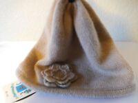 New Portolano 100% Cashmere Knit Beanie Hat with Flower Applique