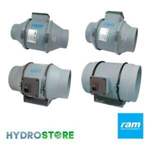 """RAM Inline Mixed Flow TT Fan -  4"""", 5"""", 6"""", 8"""". 100mm, 125mm, 150mm, 200mm."""