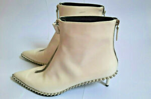 ALEXANDER WANG Authentic White Leather Studded Ankle Boots Size 41EU 10US