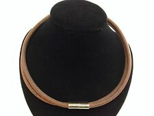 """AUTHENTIC HERMES SILVER TONE BROWN LEATHER Choker Necklace 5F239924"""""""