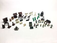 51 Piece Lot Plasticville Farm Animals Accessories People Some Marx