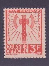 "FRANCE STAMP TIMBRE DE SERVICE 10 "" FRANCISQUE 3F ORANGE "" NEUF xx TTB"