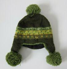 Handmade Nepal 100% Wool Fleece Lined Green Knit Pom Pom Beanie Hat One Size