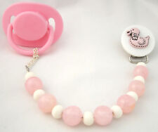 Pink Duck Pacifier Clip with Wooden Beads