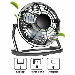 Mini USB Desk Fan 4inch Strong Wind Small Quiet Portable Table Personal Cooler