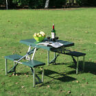 Deep Green Outdoor Aluminum Portable Folding Camping Picnic Table Case 4 Seats