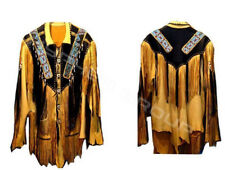 New Mens Yellow Western Style American Cowboy Leather Jacket Fringes Hairs Beads