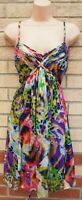 OLEG CASSINI ANIMAL PRINT MULTI COLOUR SILK LACE UP BACK A LINE PARTY DRESS 6