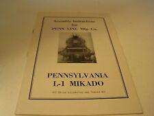 Penn Line Ho Scale Railroad Pennsylvania L-1 Mikado Assembly Instructions