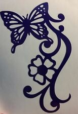 Window sticker..Butterfly and flower Vinyl Decal (white)