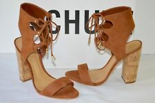 New $220 Schutz Cruz Saddle Brown Nubuck Suede Cuff Sandal Heel  sz 6