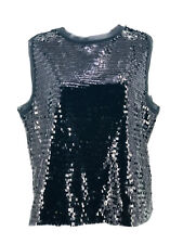 Who What Wear Women's Black Sleeveless Keyhole Back Sequin Blouse Size XL