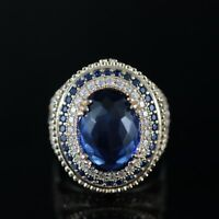 Sapphire Ladies Ring 925 Sterling Silver Handmade Authentic Turkish Size 6-11