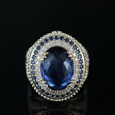 BEAUTIFUL! TURKISH HANDMADE SAPPHIRE STERLING SILVER 925K RING SIZE 7,8,9