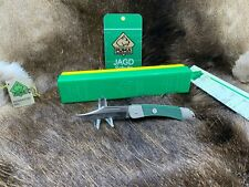 """1980 Puma Packer 4 1/4"""" Knife With Green Checkered Handles Mint In Box - 23 0465"""