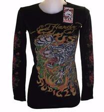 New Women's Ed Hardy Long Sleeved Specialty T Shirt Black Stretch Medium M