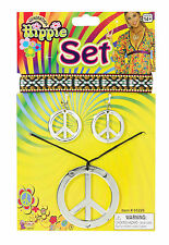 Hippie Peace Sign Necklace Earrings & Headband Set 60's 70's Costume Accessory