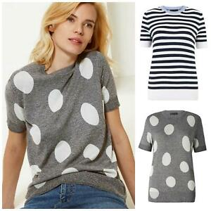 M&S Marks and Spencer Womens Plus Size Short Sleeve Knit Top Polka Dot Stripe