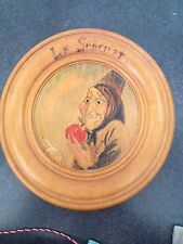 Vintage French Snow White & the Seven Dwarfs 9.5' Wood Plaque- Evil Queen