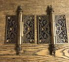 "Pair Antique Ornate Brass ""Oriental"" Door Hinges 4"" X 4"" c1885 by Branford"