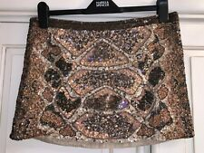 Allsaints Gold Embellished Sequin Skirt Size 12