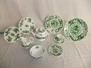 c4 Porcelain Coalport - Green Dragon - vintage/antique tableware, age vary 1D2D