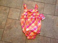 NWT Carter's pink orange green Plaid 1 pc Romper Sunsuit Ruffles 24 months