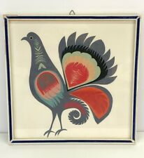 Vintage Circa 1970s Polish Paper Cut Folk Art Design Framed Chicken Pigeon Bird