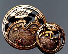 More details for art nouveau poppy flowers metal buttons pair.