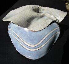 Hand crafted Vintage Blue & White Ceramic Vase 6 1/2