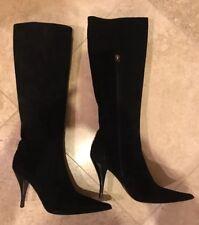 86e49a35ce1b Authentic Fendi Black Suede Boots Logo Size 38.5