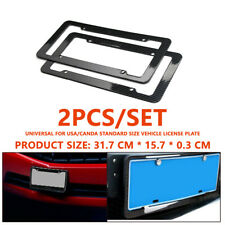1 Pair Plastic Carbon Fiber Style License Plate Frames For Front & Rear Bracket