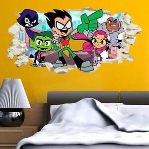 Teen Titans Go Wall Sticker Smashed Kids Boys Bedroom Decal Gift Superheroes