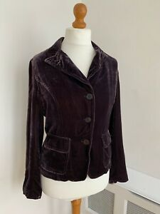 HARTFORD Purple Crushed Velvet Fitted Blazer Jacket Size 3 UK 12
