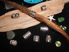 Dreadlock Beads x 8 **SILVER MIN MIX PACK** 5-6mm Hole Size Lil bit of allsorts