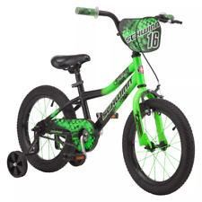 "Schwinn Piston 16"" Bicycle Kid's Green Bike With Training Wheels"