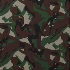 BY YARD-Camouflage Girls Pin Up Green Brown Fabric by Alexander Henry 6205A