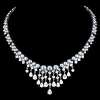 100% NATURAL 8MM TAHITIAN FRESHWATER PEARL & CZ HUGE DESIGN SILVER 925 NECKLACE