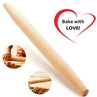 "Long Tapered 18""French Wooden Rolling Pin for Baking Cookie Pastry Dough Biscuit"