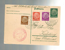 1938 Sudetenland Germany LZ 130 Graf Zeppelin 2 PC Cover Reichenberg back cancel