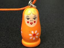 Russian Doll Wooden Orange Charm Matryoshka Nestling Only No Necklace *3*