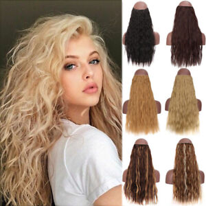 Long Wavy Invisible Wire No Clips Hair Extensions Synthetic Fish Line Hairpieces