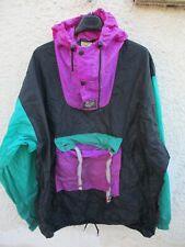 K-WAY à capuche années 80 noir violet vert coupe-vent windbreaker nylon XL