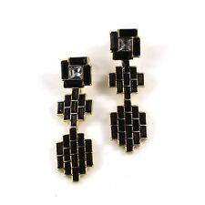 Destockage Boucles d`Oreilles Clous Art Deco Géométrique Carré Noir Vintage B6